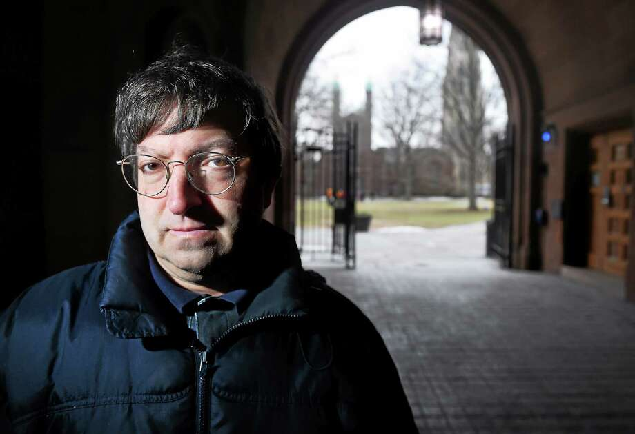 Jeff Mitchelll at the Phelps Gate entrance to Yale University's Old Campus. Photo: (Arnold Gold — New Haven Register)