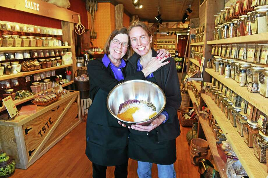 Co-owners Cindy Wright and daughter Jen Asbury at their Spice & Tea Exchange of Guilford on Whitfield Street. Photo: Peter Hvizdak - New Haven Register   / ©2015 Peter Hvizdak