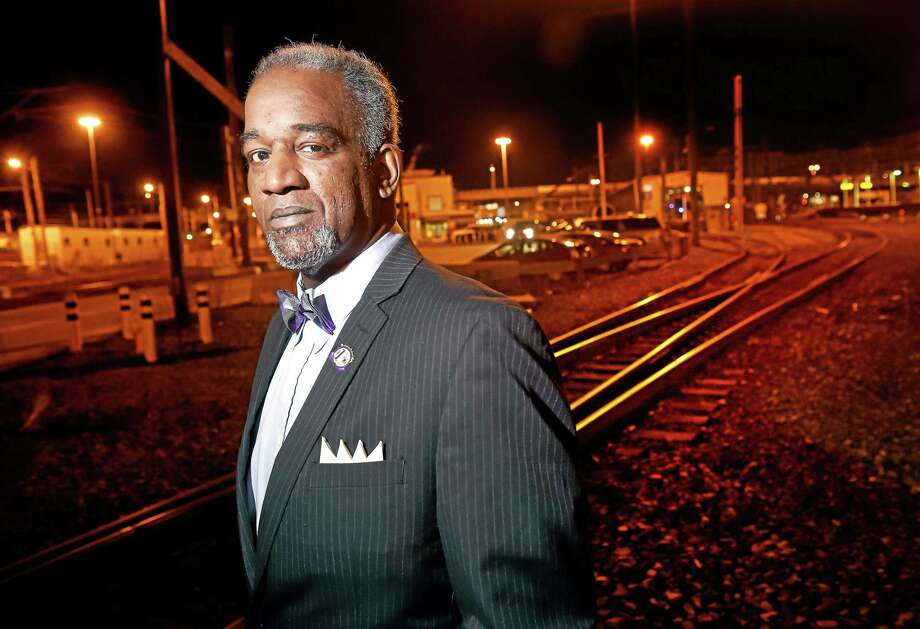 Marcellus A. Edwards III, recently elected as a Connecticut Legislative Representative for the Association of Commuter Rail Employees, is photographed in the New Haven rail yard on 1/21/2015. Photo: (Arnold Gold-New Haven Register)