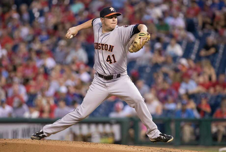 Houston Astros starting pitcher Brad Peacock throws a pitch during the third inning of a baseball game against the Philadelphia Phillies, Monday, July 24, 2017, in Philadelphia. (AP Photo/Chris Szagola) Photo: Chris Szagola, Associated Press / FR170982 AP