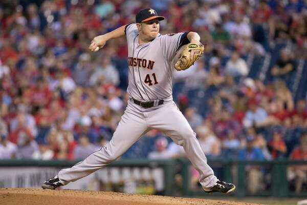 Houston Astros starting pitcher Brad Peacock throws a pitch during the third inning of a baseball game against the Philadelphia Phillies, Monday, July 24, 2017, in Philadelphia. (AP Photo/Chris Szagola)