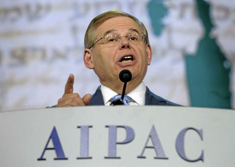 Senate Foreign Relations Committee Chairman Sen. Robert Menendez, D-N.J., addresses the American-Israeli Public Affairs Committee 2013 Policy Conference in this 2013 file photo. Photo: AP File Photo   / AP