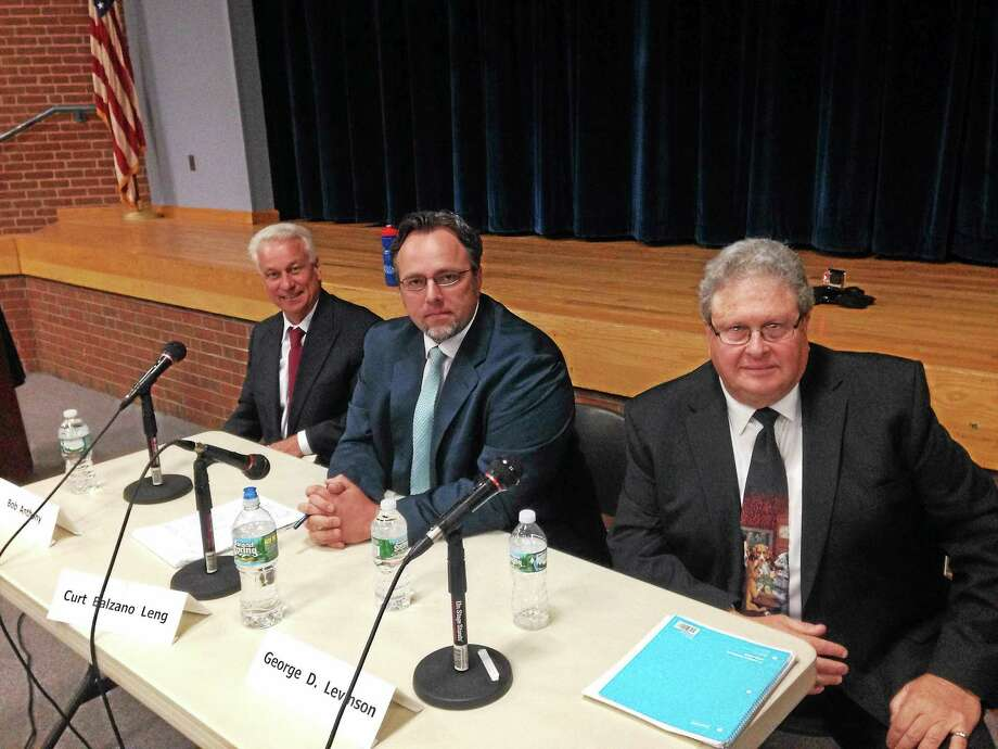 KATE RAMUNNI — NEW HAVEN REGISTER  From left, Republican candidate Bob Anthony, Democratic candidate Curt Leng and independent candidate George Levinson at a mayoral debate Monday in Hamden. Photo: Journal Register Co.