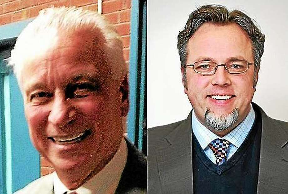 Retired Hamden firefighter Bob Anthony, left, said he is interested in running. Scott Jackson's Chief Administrative Officer Curt Balzano Leng, right, is the only Democrat to officially declare he is running. Photo: Journal Register Co.