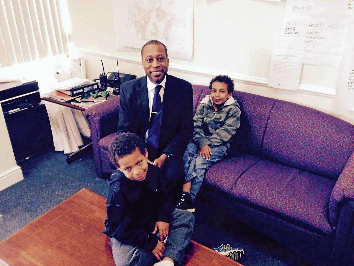 Hamden Mayor Scott Jackson with sons Eli, left, and Max.