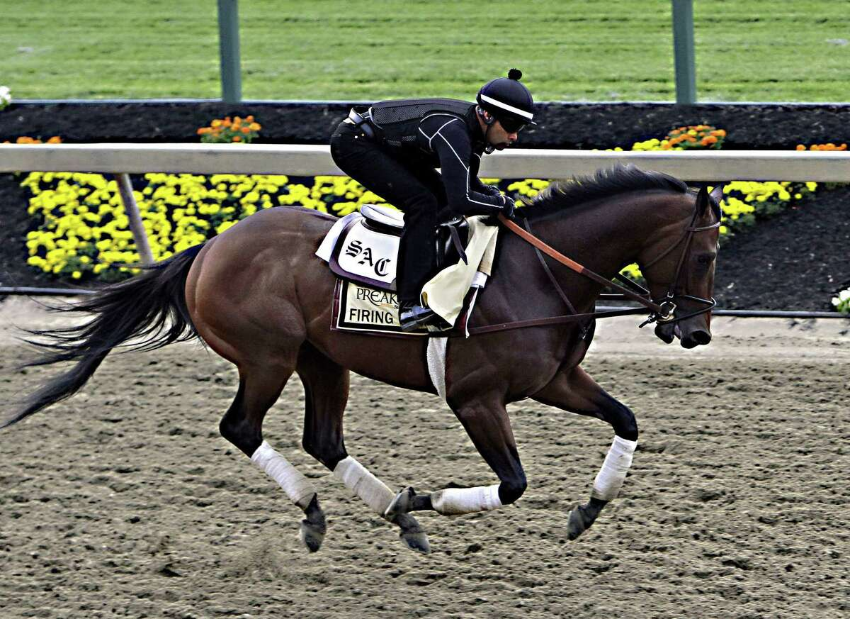 Exercise rider Umberto Gomez gallops Firing Line at Pimlico Race Course in Baltimore on Friday.