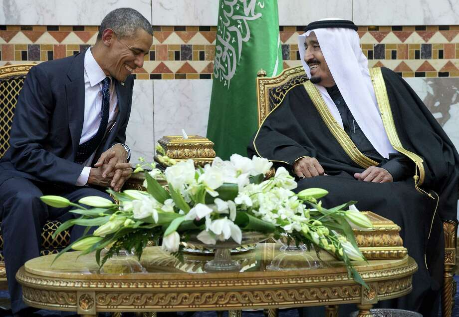 President Barack Obama meets new Saudi Arabian King Salman bin Abdul Aziz in Riyadh, Saudi Arabia, Jan. 27. Photo: Carolyn Kaster — The Associated Press   / AP