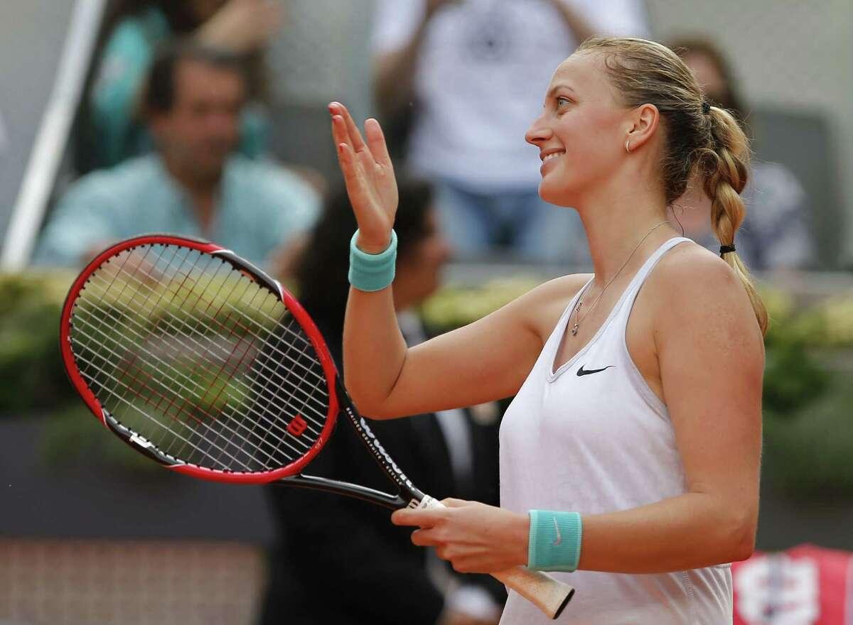 Petra Kvitova celebrates after defeating Svetlana Kuznetsova in the final at the Madrid Open in Spain on Saturday.