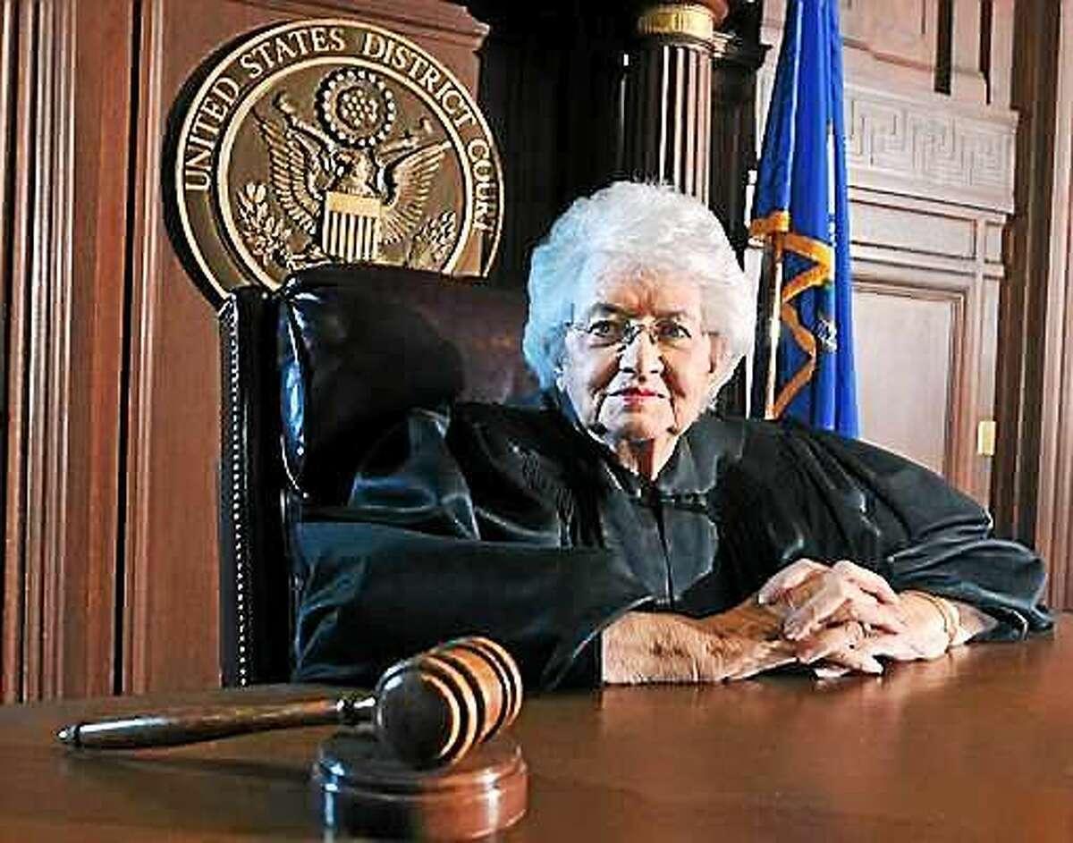 (Peter Casolino - New Haven Register file photo) U.S. District Court Judge Ellen Bree Burns in her courtroom in 2012.