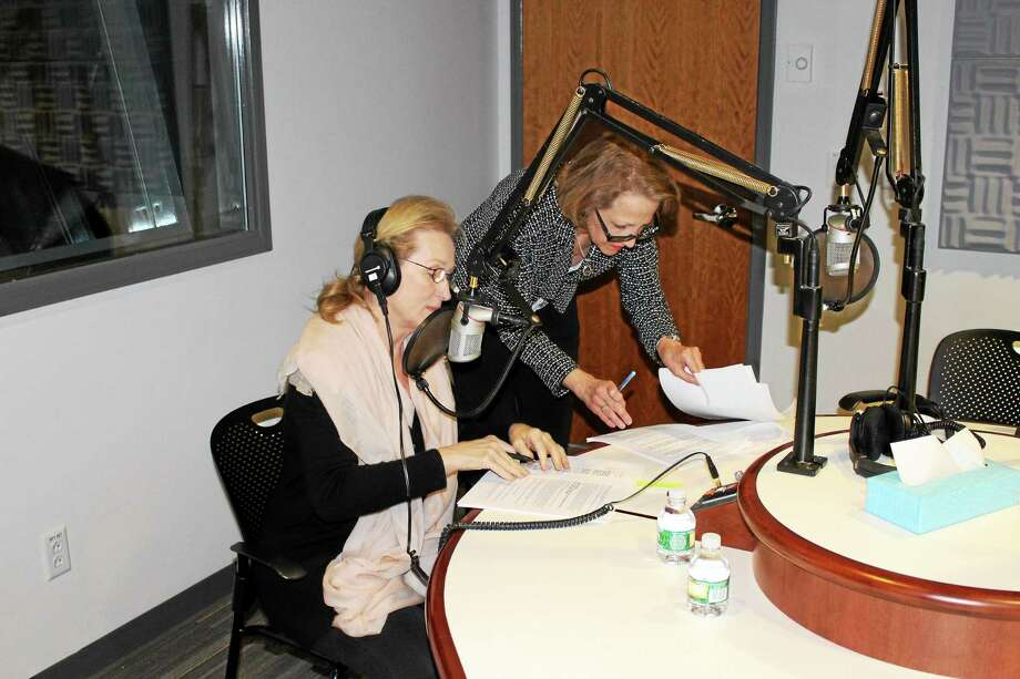"Meryl Streep, left, and Karyl K. Evans work on ""Letter From Italy"" narration in 2014. Photo: Contributed"