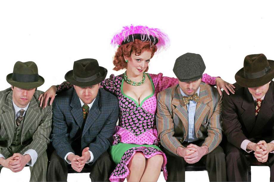"The boys cozy up to Nancy Anderson, who plays Miss Adelaide, in Goodspeed Opera House's ""Guys and Dolls."" Photo: Diane Sobolewski   / ?2015 Diane Sobolewski / Goodspeed Musicals"