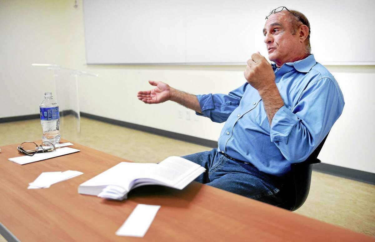 """Louis """"The Coin"""" Colavecchio talks about his life with students at Gateway Community College."""