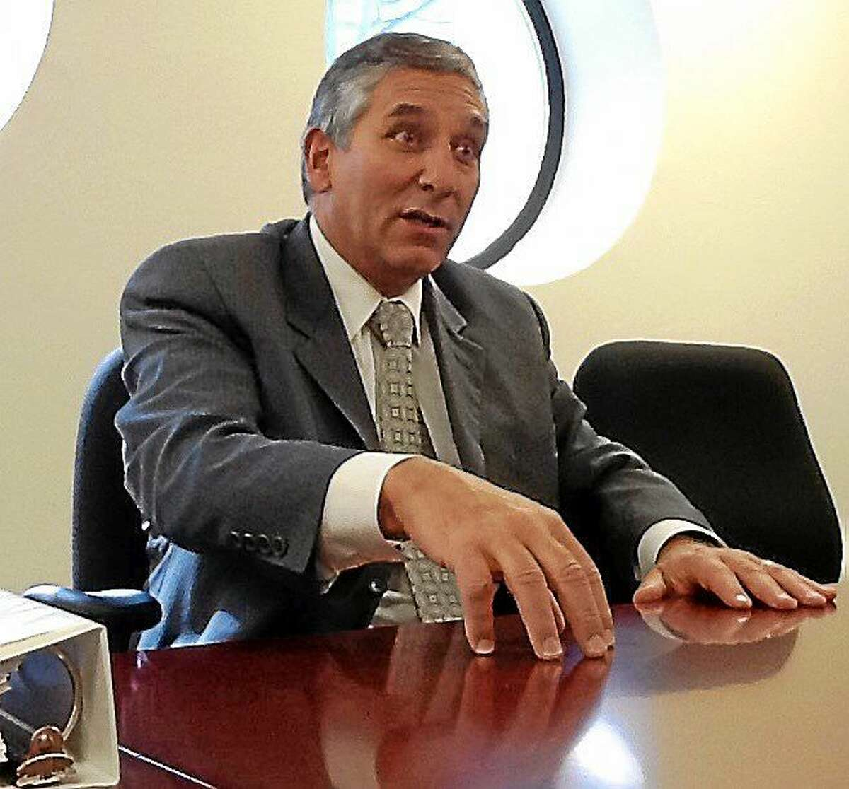 State Senate Minority Leader Len Fasano makes a point while speaking to the New Haven Register Editorial Board