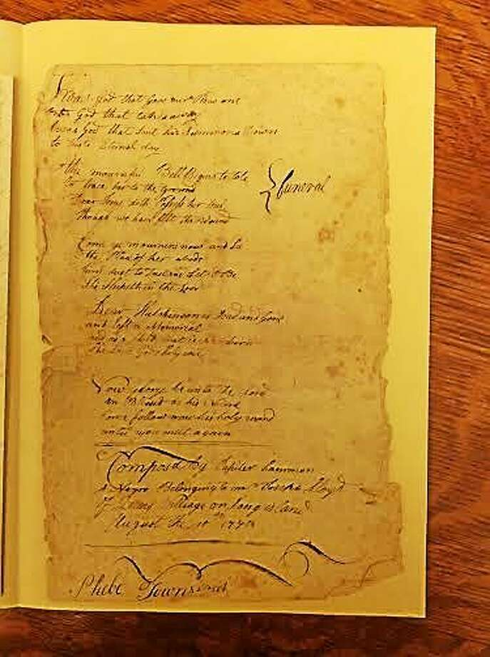 The poem by Jupiter Hammon, mistakenly attributed to a Phebe Townsend. Photo: Contributed Photo