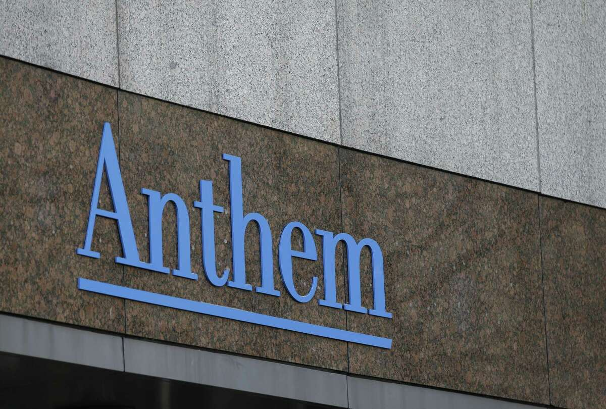 The Anthem logo at the company's corporate headquarters in Indianapolis.