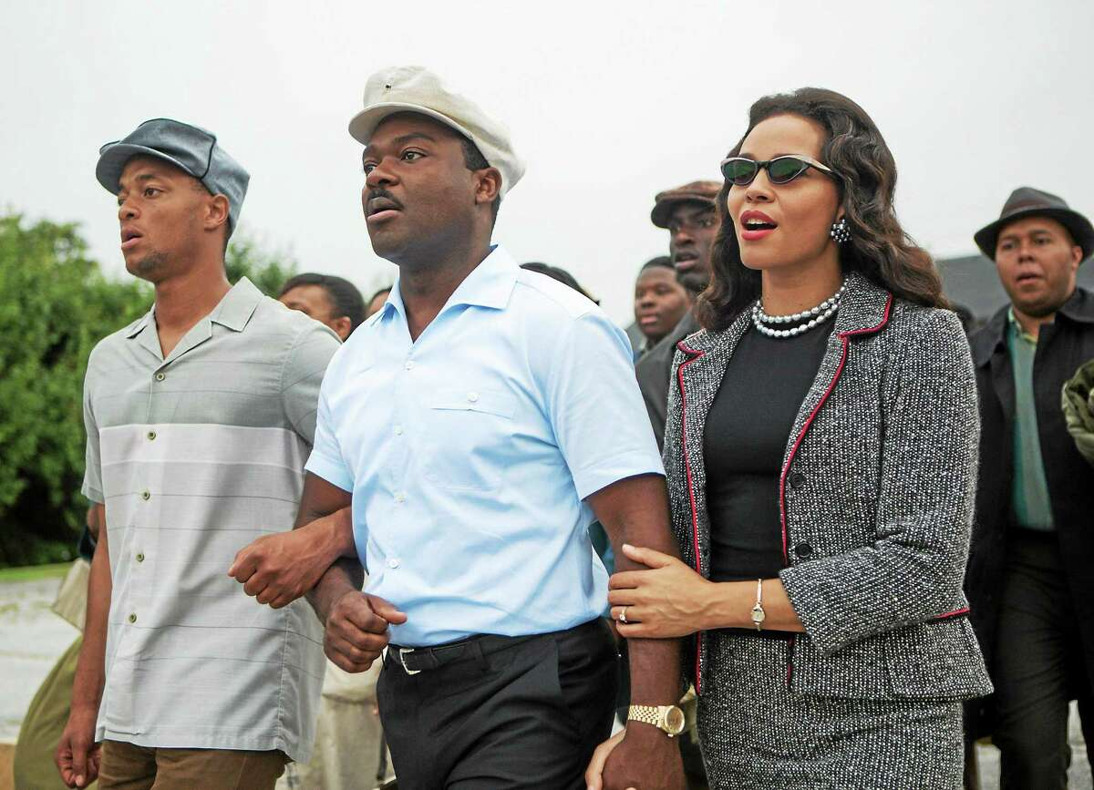 """David Oyelowo, center, as Martin Luther King Jr. and Carmen Ejogo as Coretta Scott King star in """"Selma."""" The Lineage Group presents Soulful Sunday, a screening at 2 p.m. Sunday in Criterion Cinemas and post-film """"chat and chew"""" at Soul de Cuba in New Haven. Tickets are $10. Call 203-707-1133."""