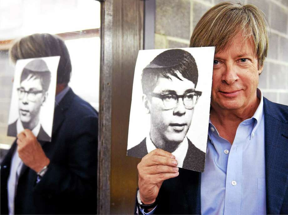 (Peter Hvizdak - New Haven Register)   Dave Barry poses backstage at Southern Connecticut State University's Lyman Center with his nerdy 1965 high school yearbook photo from Pleasantville High School in New York. Photo: ©2015 Peter Hvizdak / ?2015 Peter Hvizdak