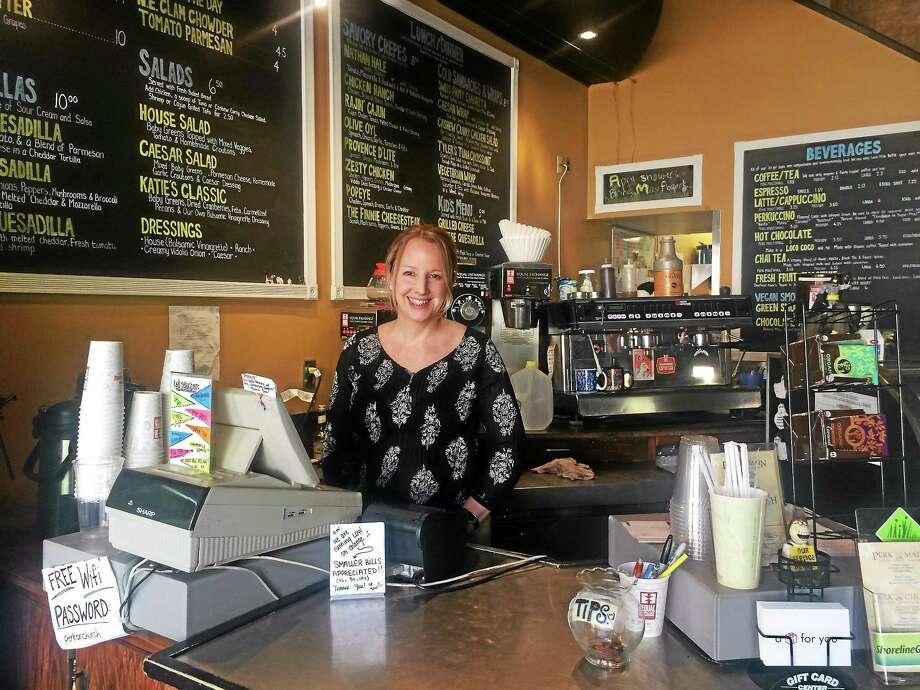 Katie Hughes, owner of Perk on Church, inside her store in Guilford. Photo: Akaya Mcelveen — New Haven Register