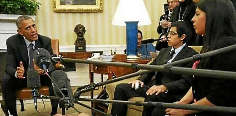 """Maria Praeli, a """"DREAMer"""" from Hamden, who heckled President Barack Obama and Michelle Obama in Connecticut visits before the November election, met with him Wednesday at the White House to talk about immigration reform. Photo: Contributed Photo"""
