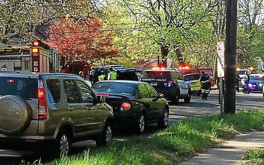 Whitney Avenue was partially blocked near Cannon Street in Hamden after two vehicles collided during the Thursday morning rush hour. Neither driver sustained life-threatening injuries. Photo: (Wes Duplantier -- New Haven Register)