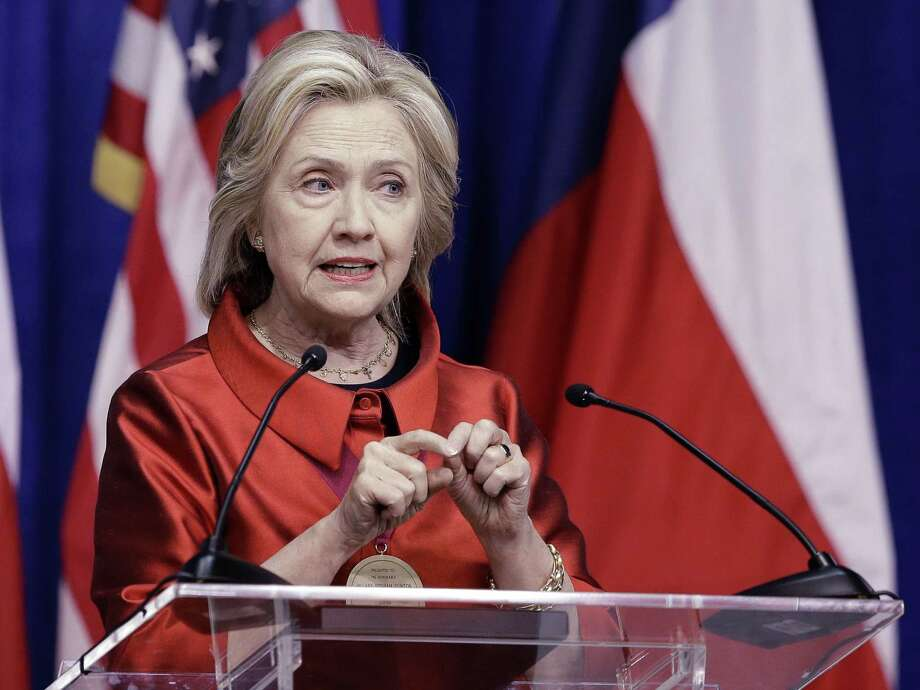 Democratic presidential candidate Hillary Rodham Clinton delivers a speech at Texas Southern University in Houston on June 4. Clinton is calling for an expansion of early voting and pushing back against Republican-led efforts to restrict voting access, laying down a marker on voting rights at the start of her presidential campaign. Photo: AP Photo   / AP