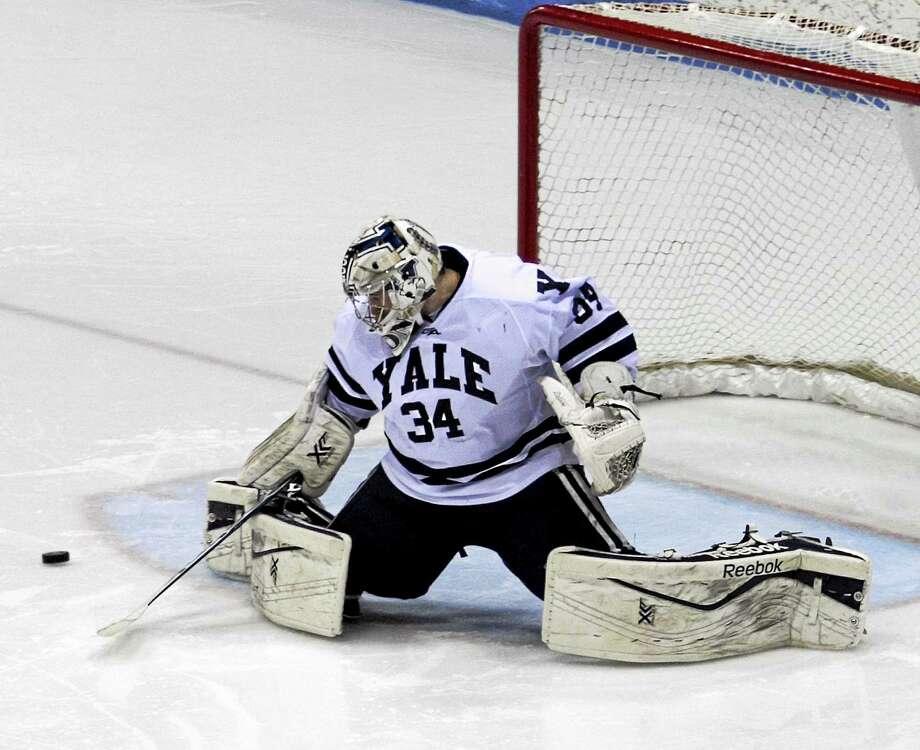 Yale sophomore Alex Lyon was named the ECAC Goalie of the Week. Photo: Photo Courtesy Of Steve Musco — Yale Athletics   / Steve Musco