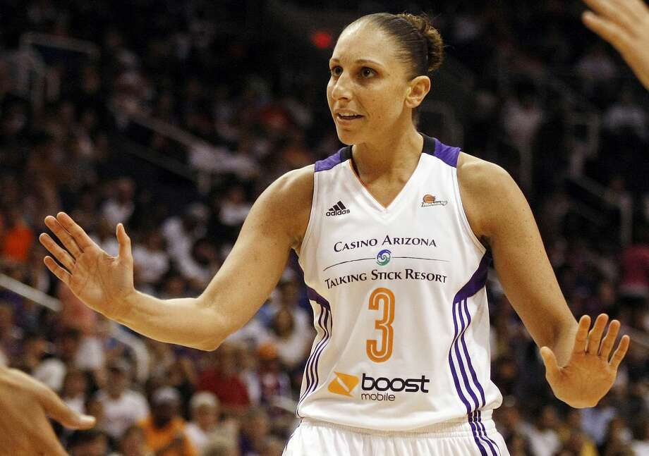 FILE - In this Sept. 7, 2014, file photo, Phoenix Mercury guard Diana Taurasi (3) reacts to a call in the second half of Game 1 of the WNBA basketball finals against the Chicago Sky in Phoenix. Taurasi will sit out the 2015 WNBA season after receiving a lucrative offer from her Russian club team to rest this summer. (AP Photo/Rick Scuteri, File) Photo: AP / FR157181 AP