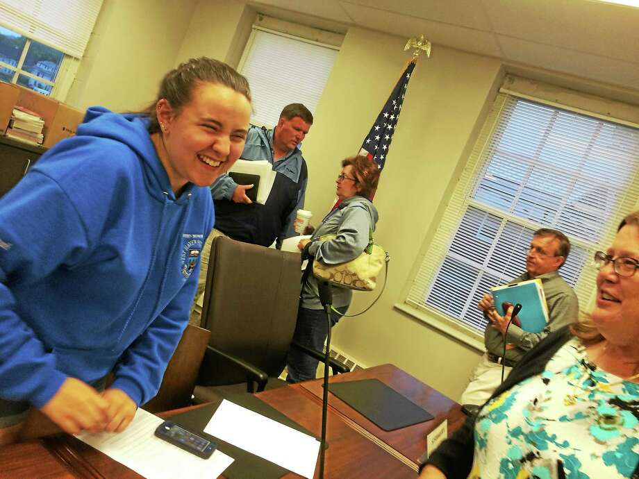 "Mark Zaretsky -- New Haven Register  West Haven High School junior Susannah ""Susie"" Beyl, far left, is congratulated on her appointment as one of just two student representatives on the state Board of Education by West Haven Federation of Teachers Vice  President Patti Fusco, far right. In the background, from left, are West Haven Board of Education member Bob Guthrie, Chairwoman Patricia Libero and Vice Chairman Jim Morrissey. Photo: Journal Register Co."