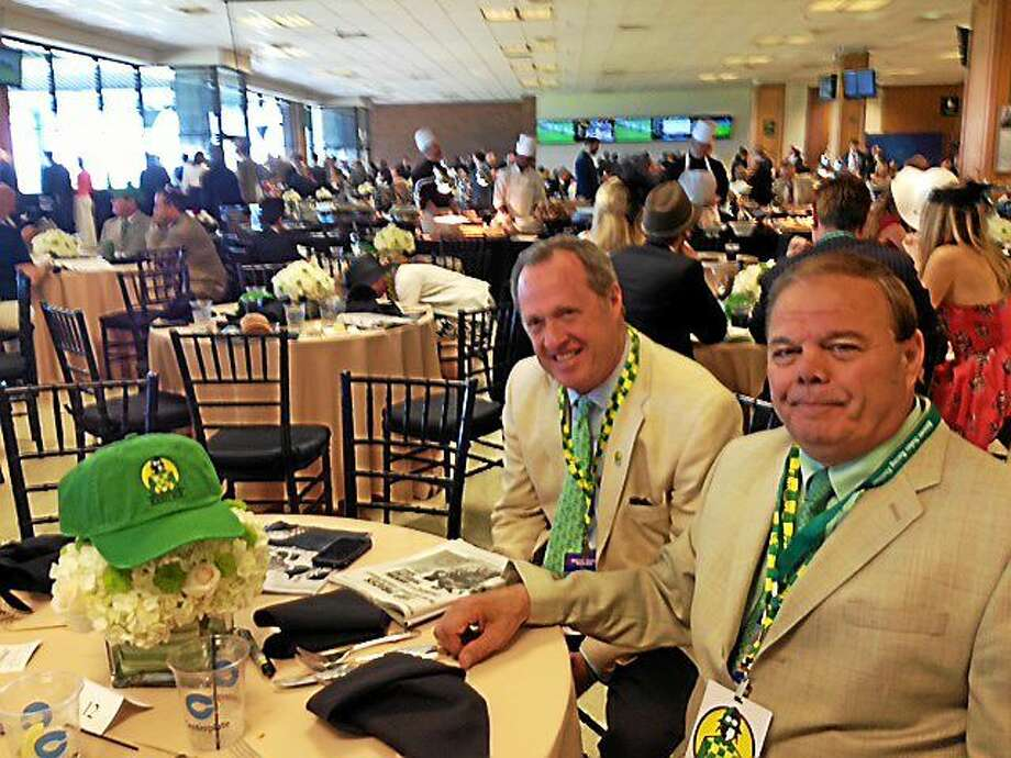 North Haven racehorse owners Ralph Durante and John Buckley saw their horse Keen Ice finish third in the Belmont Stakes on Saturday. Photo: Dan Nowak — The Associated Press
