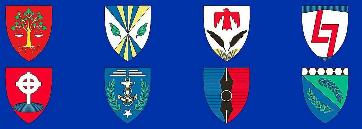 Shields for the proposed college names include those for, top left to right, Jane Bolin, Edward Bouchet, Henry Roe Cloud, Yung Wing and, bottom left to right, Mary Goodman, Grace Hopper, William Pickens and Elga Wasserman.