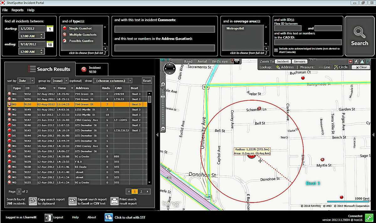 Screenshot of an ShotSpotter Flex Incident Review Portal (IRP) from 2012, which is now known as the ShotSpotter Flex Investigator Portal. It is displaying the Search Results of an inquiry of the ShotSpotter Flex database. The map is showing a road view of the area where the incidents are located, in addition to a Circle Measurement Tool of 0.2 square mile.