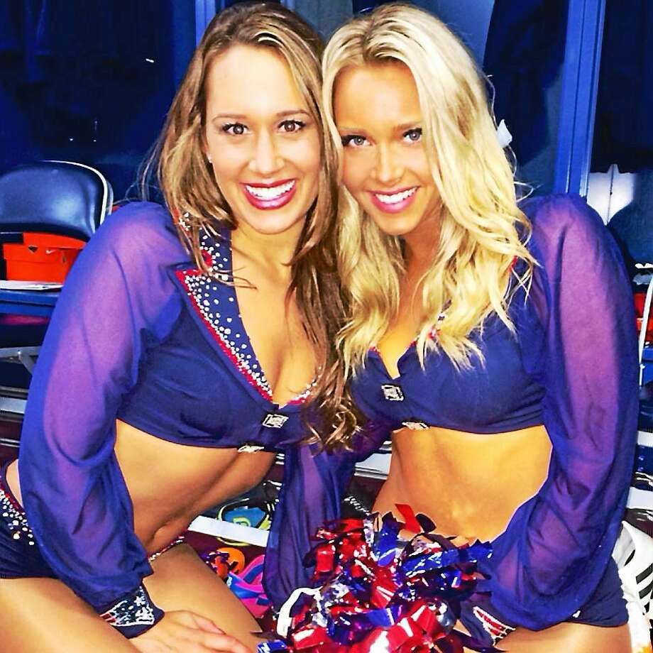 Patriot's cheerleaders Brittany Dickie left, also a two-year veteran and Camille Kostek, right, of Killingworth. Photo: Submitted Photo