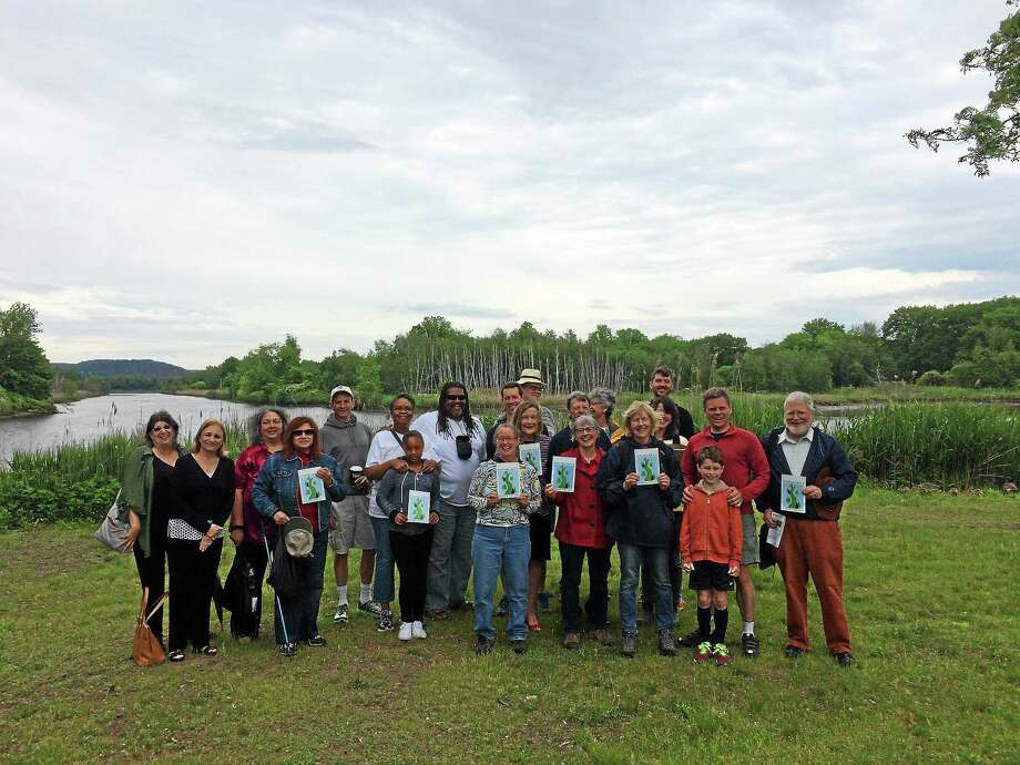 Members of the West River Watershed Coalition Saturday morning at the West River Memorial Park where they announced the West River Greenway has been accepted as a designated greenway by the Connecticut Greenways Council. Photo: Akaya Mcelveen - New Haven Register