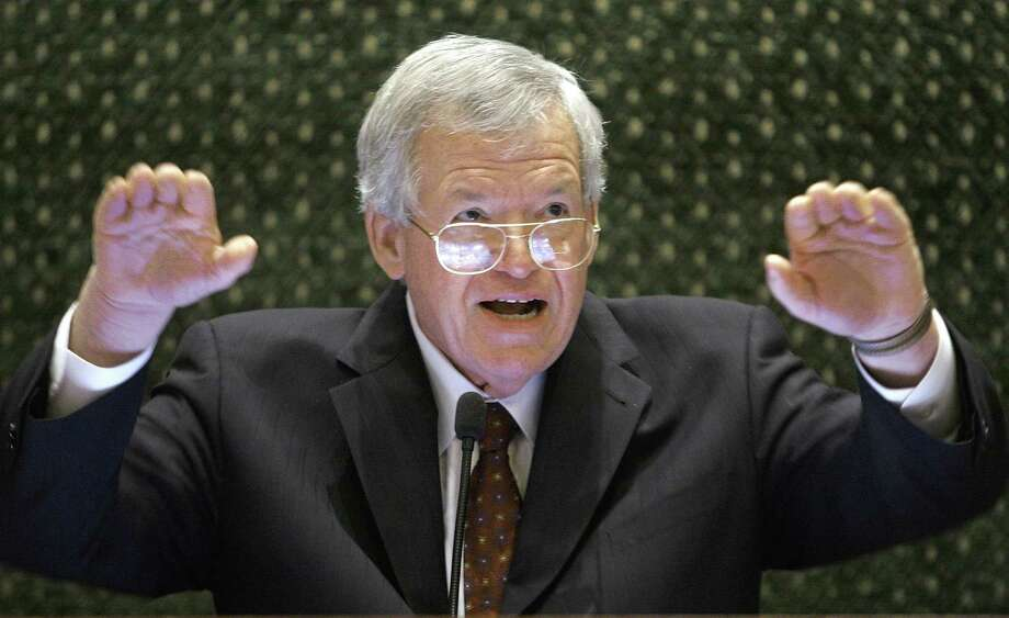 FILE - In this March 5, 2008, file photo, former U.S. House Speaker Dennis Hastert speaks to lawmakers on the Illinois House of Representatives floor at the state Capitol in Springfield, Ill. Former colleagues of Hastert say allegations of sexual abuse by the one-time House speaker clash with a reason Republicans made him leader, his squeaky-clean reputation Photo: (AP Photo/Seth Perlman, File) / AP