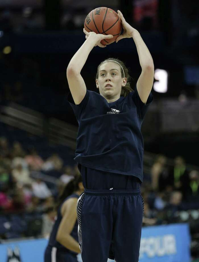 Connecticut forward Breanna Stewart shoots during a Saturday practice session for the NCAA Final Four tournament women's college basketball semifinal game in Tampa, Fla. Connecticut will play Maryland Sunday in a semifinal game. Photo: Associated Press Photo   / AP