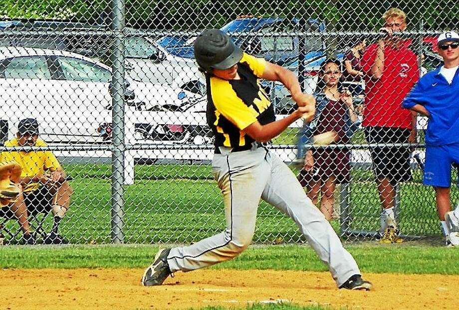 Amity's Mike Appel went 3-for-4 with two doubles and two RBIs to help the Spartans beat Glastonbury 6-3 in the 2nd round of the Class LL tournament Thursday. Photo: Derek Turner -- GameTimeCT
