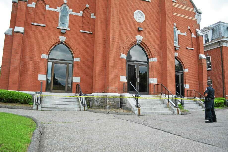 St. Francis Church on 160 Main St. was vandalized late Thursday morning. Photo: Amanda Webster — The Register Citizen