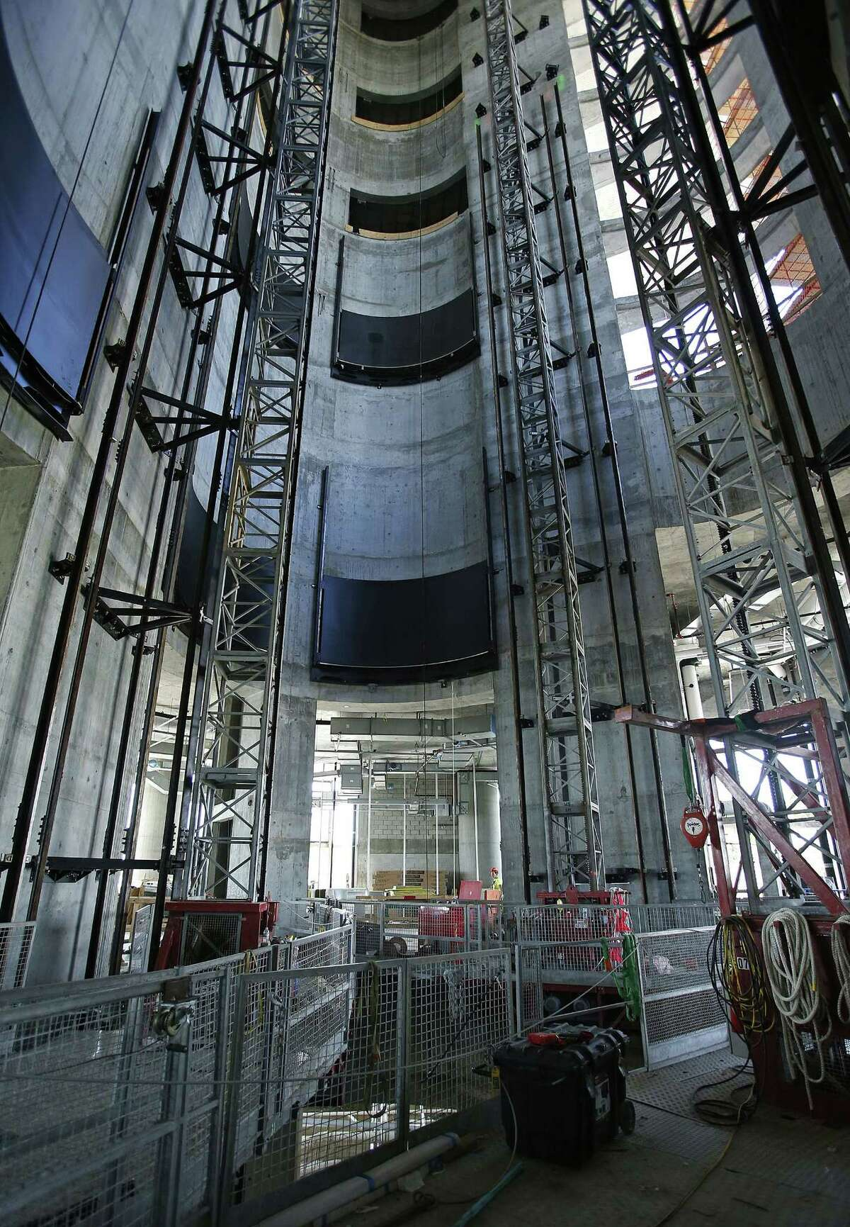The elevator shaft in the core of the under-construction Porsche Design Tower in Sunny Isles Beach, Fla.