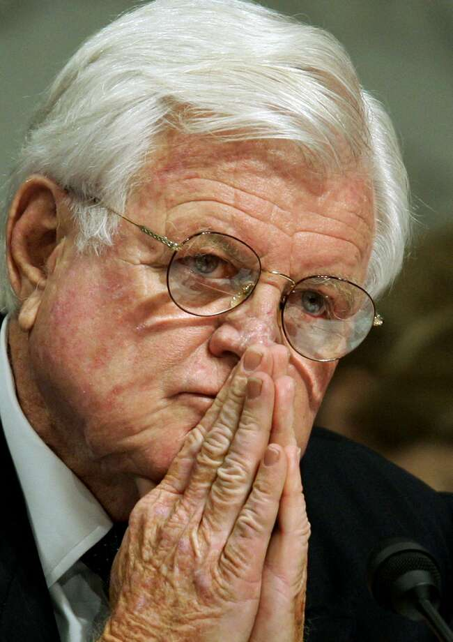 In this Sept. 15, 2005 file photo, Sen. Edward Kennedy, D-Mass., a member of the Senate Judiciary Committee member, listens intently during a confirmation hearing,  in Washington. President Barack Obama, Vice President Joe Biden and Republican U.S. Sen. John McCain are among the guests scheduled to pay tribute to the late Sen. Kennedy in Boston. A ceremony is scheduled for Monday, March 30, 2015, to formally dedicate the Edward M. Kennedy Institute for the United States Senate. The $79 million facility features a life-sized replica of the Senate chamber. Guests, including student groups, will be able to role-play as senators and debate some of the major issues of the day. Photo: AP Photo/J.Scott Applewhite,File   / AP