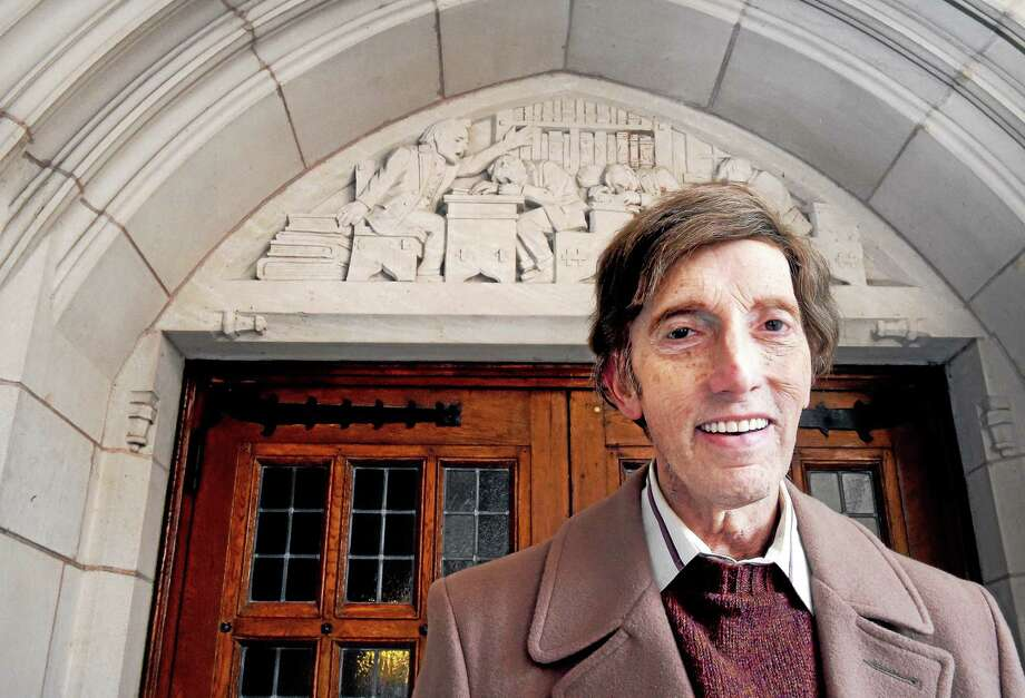 (Arnold Gold-New Haven Register)  Michael Stern, author of Yale's Hidden Treasures, Mystery of the Gothic Stone Carvings, is photographed at the entrance to the Yale Law School in New Haven on 1/2/2015. Photo: Journal Register Co.
