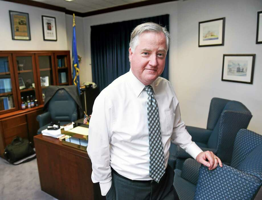 (Arnold Gold-New Haven Register)  Connecticut Speaker of the House Brendan Sharkey is photographed in his office at the Legislative Office Building in Hartford on 1/2/2015. Photo: Journal Register Co.
