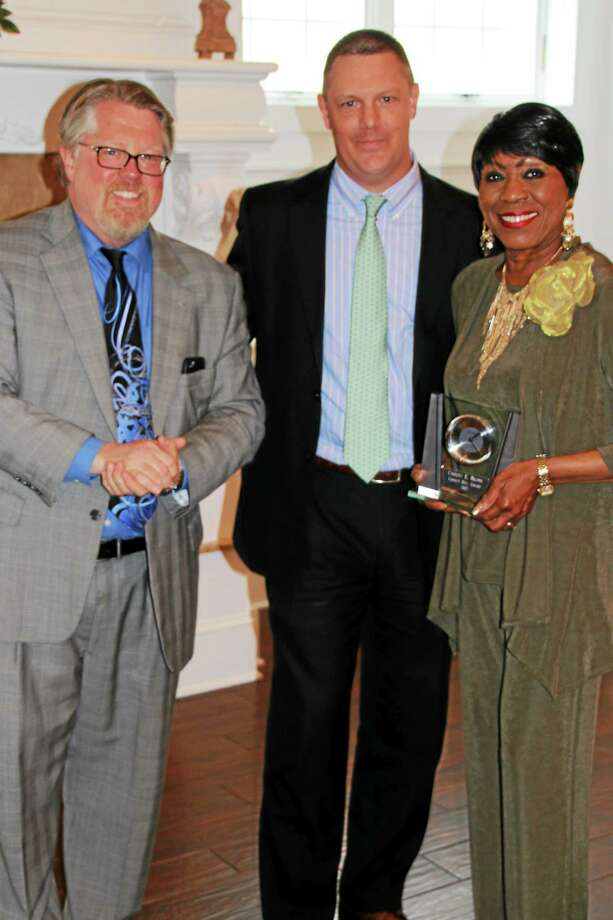 Photo by Attorney Christopher Carveth    From left to right: Attorney John Mager, president of Milford Bar Association, Attorney John Barney and Carroll E. Brown, of West Haven, who recently the received the organization's Liberty Bell Award for her work toward equal rights and freedom. Photo: Journal Register Co.