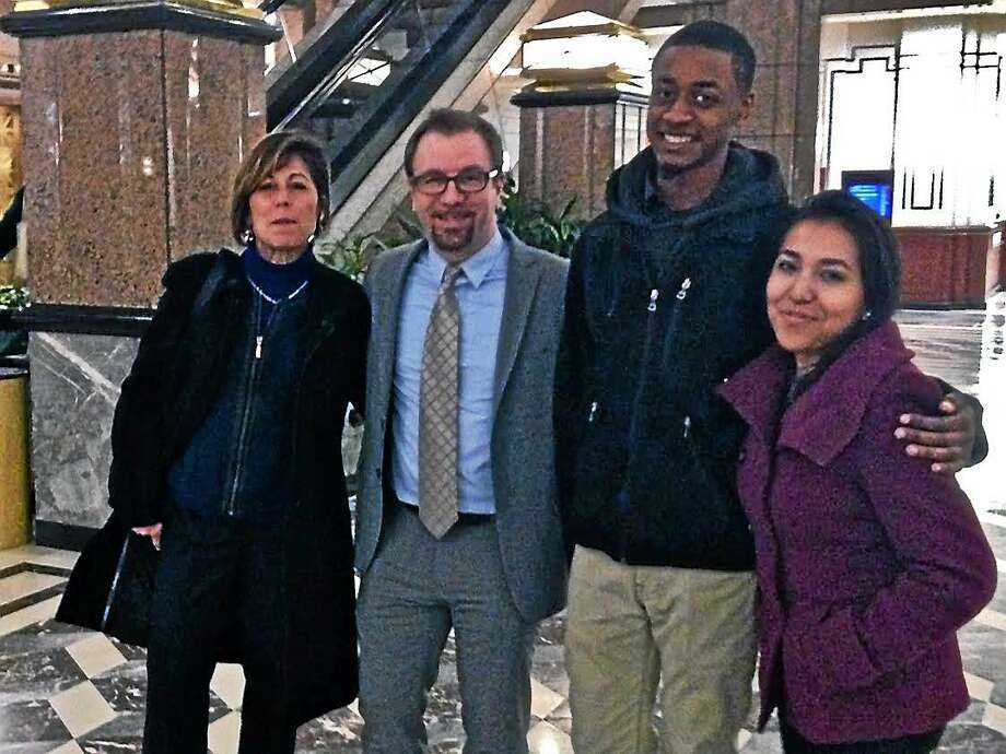 From left: Sue Davison, NMS interim directorn of development; Noah Bloom, interim executive director; and students Justin Lewis and Joseline Tlacomulco. Photo: Contributed Photo.