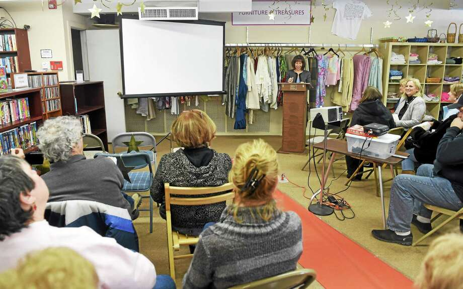 (Peter Hvizdak - New Haven Register) ¬ Roberta Cook, CEO of BHcares, makes opening remarks at My Sister's Place thrift store in Ansonia before a viewing of a video February 5 touting the thrift store. Photo: ©2015 Peter Hvizdak / ©2015 Peter Hvizdak