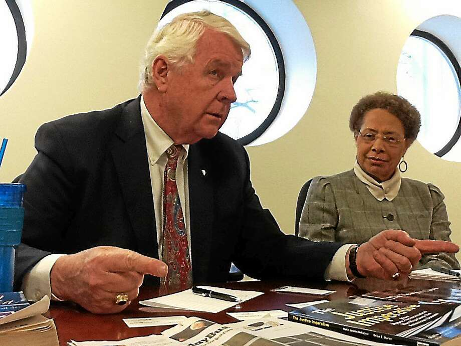 John S. Santa, chairman of the Malta Initiative, and the Rev, Marilyn Kendrix, associate pastor for faith formation at The Church of the Redeemer, United Church of Christ, New Haven, speak to the New Haven Register Editorial Board Photo: (Helen Bennett - New Haven Register)