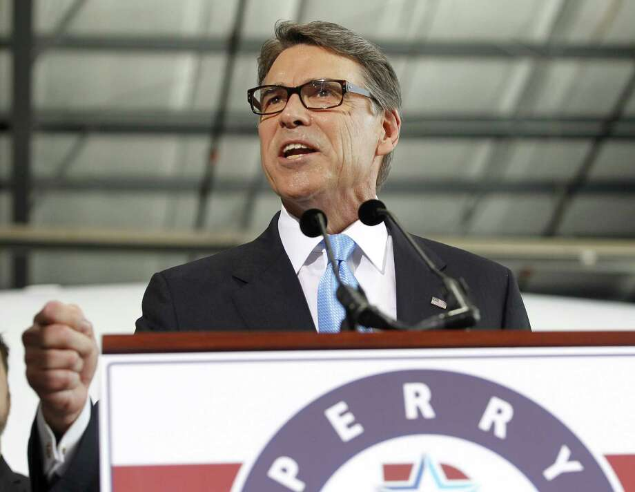Former Texas Gov. Rick Perry speaks to supporters to announced the launch of his presidential campaign for the 2016 elections Thursday in Addison, Texas. Photo: AP Photo   / FR62992 AP