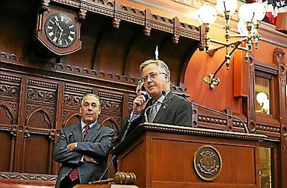 House Speaker Brendan Sharkey and Rep. Jeffrey Berger Wednesday morning waiting for the vote tally. Photo: Christine Stuart — CTNewsJunkie