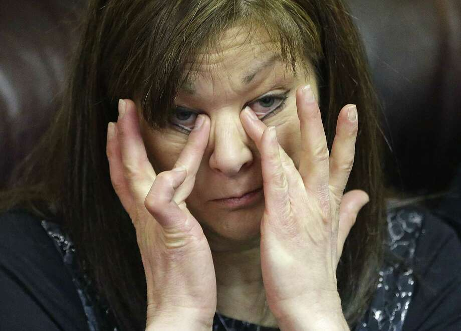Susan Hunt, mother of Darrien Hunt, cries during a press conference Friday in Salt Lake City. Photo: Rick Bowmer — The Associated Press   / AP