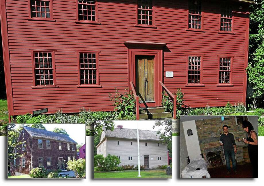"TOP: Bryan Down's House in Milford. (Register file photo) BOTTOM ROW: From left, Clark-Stockade House, Eells-Stow House, and a photo taken inside Eells-Stow House. From the NPIS website: ""Over 50 photos were taken during an EVP session in a room on the first floor of the Eells-Stow House. We found this one photo of the 50+ taken to contain a blue energy not present in any of the others. This energy was captured following a sensation of static electricity in the room by some our team members."" (Photos courtesy of NPIS website) Photo: Journal Register Co."