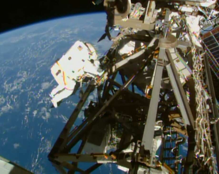 In this image from NASA television astronaut Terry Virts is seen during the third spacewalk outside the International Space Station on March 1, 2015. Photo: AP Photo/NASA-TV   / NASA-TV